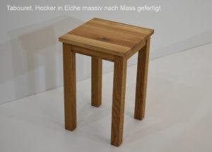 Tabouret Hocker in Eiche massiv nach Mass gefertigt