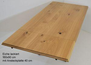 Beizentisch Eiche mit Verlängerung, Ansteckplatte, Gussfuss, Gusseisenfüsse
